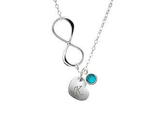 Personalized Birthstone with Infinity and Initial Heart necklace - Sterling silver, Delicate cute look, everyday wear sweet gift for her