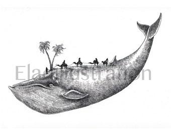 Desert Whale - Art Print / Wall Décor / Wall Art / Home Décor