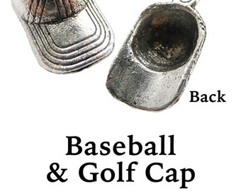 BASEBALL or GOLF CaP Charms, 6 pcs +Discounts & FREE Shipping*