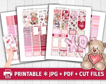 XOXO Valentine's Day Printable Planner Stickers/for use with Erin Condren/Weekly Kit/February Love Birds Letters Glitter Headers Romantic