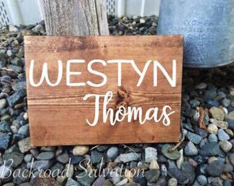 Mini Personalized Nursery Sign - Baby Name Sign - Nursery Decor - Wood Sign - Baby Farmhouse Decor - Rustic - Mini Sign