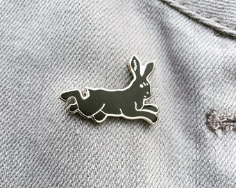 Hare Black Rabbit enamel artist lapel pin Nickel-free