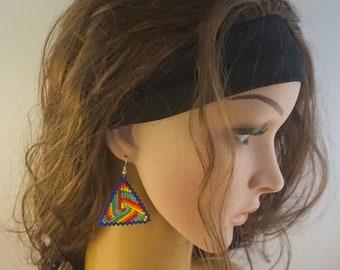 Rainbow earrings Dangle earrings Triangle earrings Beaded jewelry Colorful earrings Summer earrings friendship earrings Cute earrings