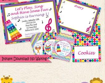 Girl Music Birthday Invitation and Party Decorations • Toddler Girl Music Party • Music Birthday Invite • 1st Birthday • Editable • 034mg2