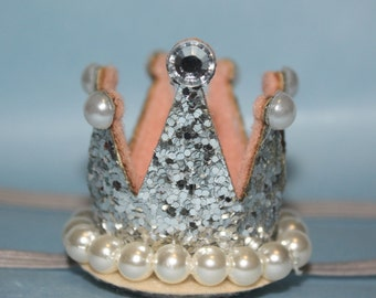 Boutique Mini Jeweled, Crystal, Glitter Crown Headband (13.5 inches Normally Fits NB-6M) Available in Pink & Silver