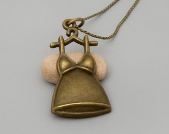 Dress Necklace; Antique Bronze Necklace; Brass Charm Necklace; Ctue Necklace; Best Friend Gift; Dress Pendant Necklace; Charm Jewelry