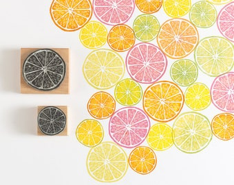 Lemon Rubber Stamp, Lime Stamp, Orange Stamp, Grapefruit stamp, Noolibirdstamps, tropical Stamp, Art Stamp, fruit stamp