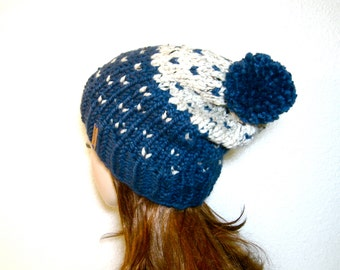 Knit Hat Fair Isle Pom Pom Slouchy Hat / Copper Mountain / Denim and Oatmeal / READY TO SHIP