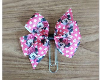 Pink Minnie inspired bow Planner clip, bookmark, planner bow clip, Minnie, mouse, pink hearts, magic, pretty