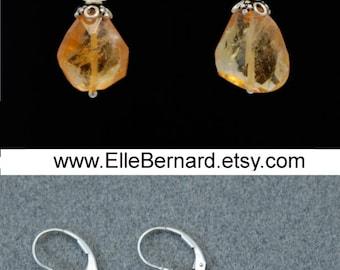 Citrine Earrings Silver   Citrine Crystal   Citrine Jewelry   November Birthstone earrings   Citrine Gemstone Earrings in Silver Raw Citrine