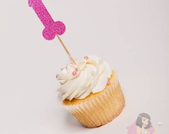 Hens Night Bachelorette Cupcake Toppers Pecker Willy Pink