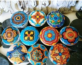 Poignées de tiroir en bois SALE15 armoire porte boutons 10; Talavera de conception artisanale décorée de boutons boutons turquoise (decoupaged) 1 1/2 pouces 10