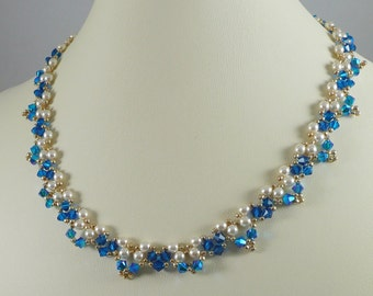Necklace Woven Pearl and Swarovski Crystal ABx2 Capri Blue
