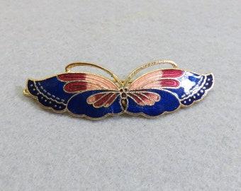 1980s Navy Blue Cloisonne' Butterfly Hair Barrette