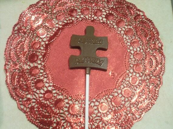 Chocolate Autism Awareness Sucker\/Lollipops