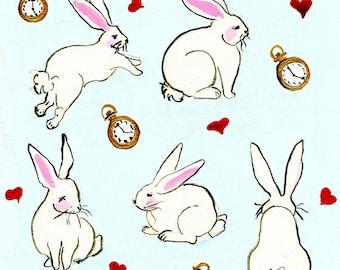 Down The Rabbit Hole Pattern Print Of Gouache Illustration