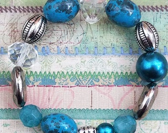 Handmade Stretchy Beaded Bracelet Featuring Teal & Silver Beads