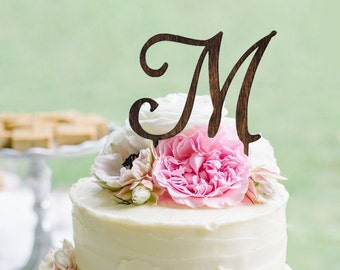Monogram Wedding Cake topper - Wooden Wedding Cake Topper - Personalized Wedding Cake Topper - Rustic Wedding Cake Topper