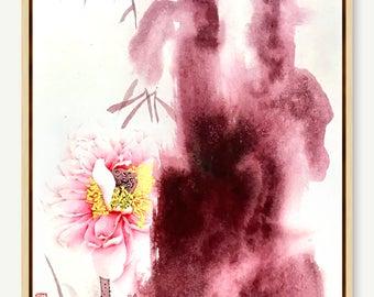 Splash Color,Chinese Painting,Original Art,Lotus Painting,flower,Water Lily,Romantic Art,fluid Art,Wall Decor,Interior,Grey Purple Red