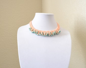 Coral and mint crochet statement necklace