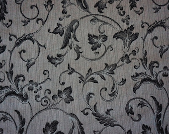 1 1/2 yards lovely design black and gray upholstery fabric