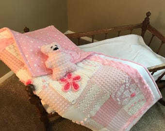 Primarily Pink Baby Quilt with baby bear