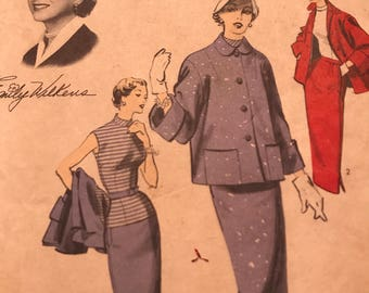 Very Rare 1950's New York Times Designer Series Vintage Coat, Skirt and Top  by Emily Wilkens---Advance 6527---Size 11  Bust 29  *****