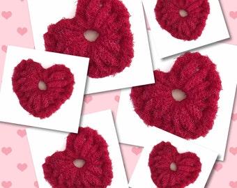 """Dish Scrubbies, 3 """"Love"""" Crochet Heart  Nylon Netting Scrubbers,  Heart Pot/Dish Scrubber, Housewarming, Kitchen Decor..Gift For Her"""