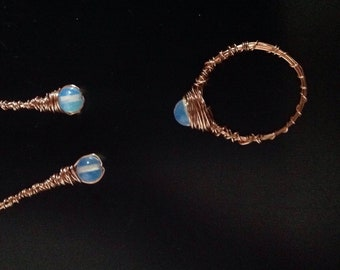 Moonstone copper wire ring and matching drop earrings