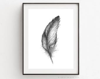 FEATHER WALL ART, Gray Feather Illustration, Feather Drawing Charcoal, Feather Art Print, Black White Feather Printable, Digital Download