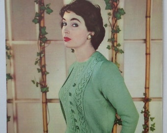 Vintage 1950s Knitting Pattern Women's Twin Set Sweater / Jumper and Cardigan Lacy Design - 50s original colour pattern - Lavenda No. 471 UK
