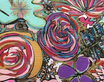 Large flower drawing, floral art on cardboard, hot pink flowers, modern flower painting, abstract florals, floral pattern, expressive flower