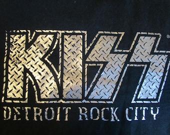 KISS Shirt. Vintage T-shirt. Graphic Tee. Retro Black Large. Detroit Rock City. Stage Act. Rock Band. Concert. Festival Top. Streetwaer.