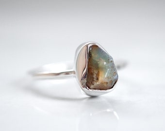 Opal ring Raw Opal ring Opal jewelry Natural Opal ring Rough Opal ring Raw stone ring Crystal ring Raw mineral ring Opal jewellery Welo Opal