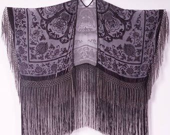 Gray Kimono Fringe Kimono Boho Kimono Cardigan