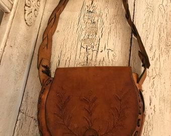 Vintage BoHo Leather Purse - Distressed Brown Leather Satchel - Rustic Leather Handbag