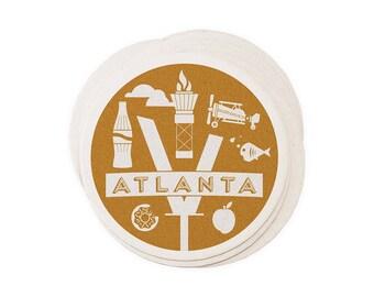 Atlanta - Letterpressed Paper Coasters