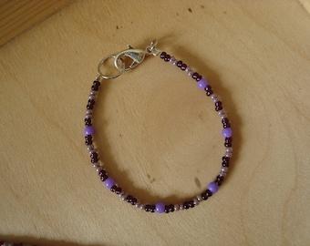 Little girl beads in shades of violet purple bracelet