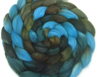 Handpainted Superwash BFL Wool Nylon 80/20 Sock Roving - 4 oz. TRIBE - Spinning Fiber