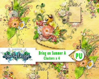Digital Scrapbooking Clusters set of 4 BRING ON SUMMER premade embellishment png clusters to make immediate scrap page