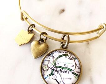 Ohio University Map Charm  Bracelet - OU Bobcats - Ohio University Bracelet - Ohio University Jewelry - Athens Ohio - Graduation Gift