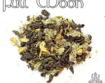 Full Moon Tea - loose leaf green tea, plum jasmine tea, pagan gifts, Esbat tea, lunar magic, Wiccan ritual, pagan altar, moon spell