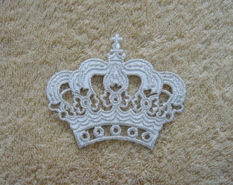 Silver Crown Iron On Patch Queen Explorer Embroidered Applique Patches For Jackets