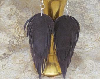 Earrings Beautiful Brown Leather Suede Feather Earrings (#16G)