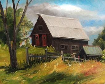 Vermont Barn Framed Oil Painting