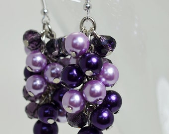 Purple and Lilac Cluster Earrings, Chunky Earrings, Pearl Earrings, Purple Pearl Jewelry, Purple Bridesmaids Earrings, Lilac Pearl Earrings