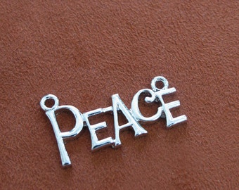 Silver Metal PEACE Word 32mm x 16mm Two Loops Pendant, 1059-59