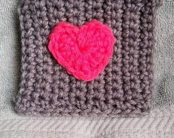 Heart Mug Cozy - Great Gift Idea, Crocheted, Coffee Cup Cozy, Mug Cozy, Teacher gift, Mom gift, Birthday gift