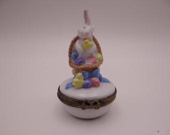 Vintage Easter Bunny Multi-Colored  Trinket Box Pill Box - So cute