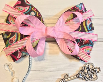 Hand sewn pink and brown paisley stacked boutique bow
